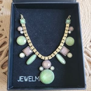 JEWELMINT Green and Gold Satement Necklace